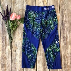 NIKE Pro Blue & Green Leggings - Girls Medium